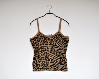 Vintage Tan Animal Print Knit Tank Top