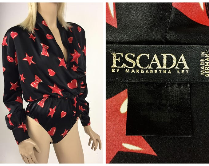 Vintage 1980's ESCADA by Margaretha Ley Silk Bodysuit - Designer Vintage - Black Silk with Red Stars, Hearts, Lips & Bows - One Piece - 8/10