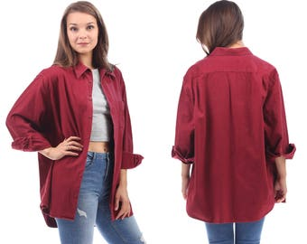 WINE RED Shirt 90s Thick Flannel Longline Soft Jacket 1990s Button Down Vintage Oversize Long Sleeve Women Men Unisex Large to XL