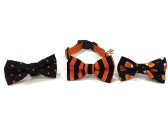 Choice of Halloween Bow Tie Cat Collars With Bell - Bow Tie Cat Collar - Halloween Cat Collar- Cat Collars-Halloween Cat Collars