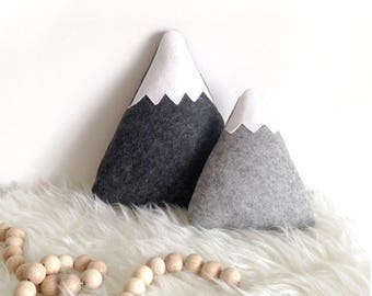 Grey Mountain Pillows, Mountain Nursery, Woodland Nursery, Outdoor Nursery, Nursery Pillows, baby boy nursery
