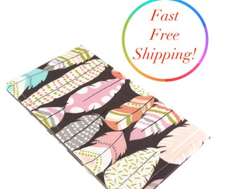 Feather Arrow Checkbook Wallet, Checkbook Cover, Cash Checkbook, Floral Womans Wallet, Checkbook Holder, Fabric Checkbook Cover