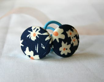 Floral Button Hair Elastics, Hair Tie - Set of 2 - Ideal Gift - 28mm - Pony Tail Holder Navy and White Daisies