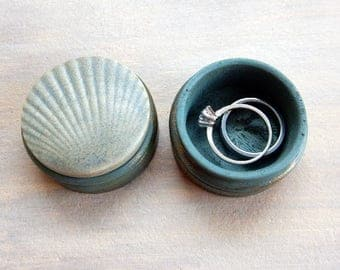 Seashell Ring or Pill Box Jewelry Keepsake Box for Anniversary Birthday Blue Green Pottery Unisex Wooden Ring Holder Beach House Home Decor