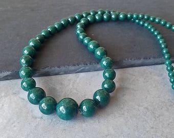 Graduated Bead Strand - Dark Forest Green Round Beads
