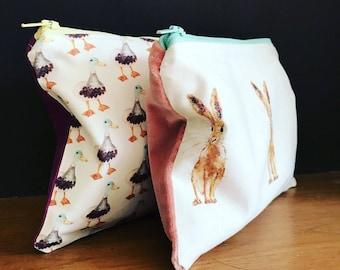 Hare design makeup bag