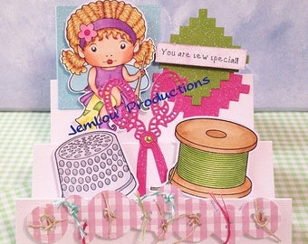 You are Sew Special with Sewing Faerie Marci handmade hand coloured JemLou Productions