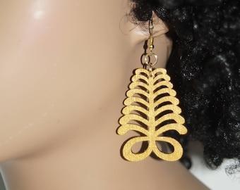 Adinkra Symbol Earrings- Medium Aya Gold