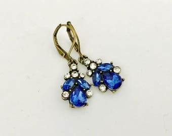 Blue dangle earrings, Art Deco, blue crystal drops, bridal jewelry