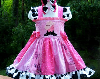 Country Cowgirl Panel Dress, Cowboy Boots Hat Applique, Ruffles, Piggie Hairbows