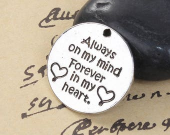 5 Pet Memorial Charms - Antique Silver - Always On My Mind Forever In My Heart - 25mm - Ships IMMEDIATELY from California - SC1363