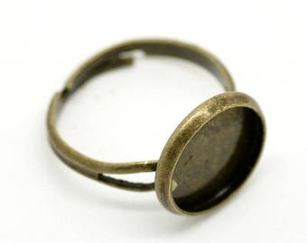 50 Cabochon Setting Rings - WHOLESALE - Bronze - Holds 12mm -  Adjustable - Ships IMMEDIATELY  from California - A559b
