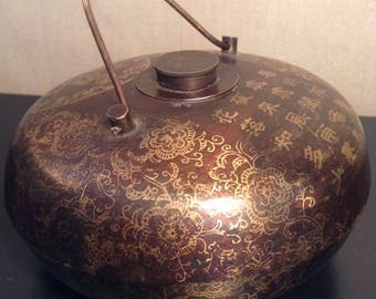 Vintage Chinese bronze copper or brass bed warmer Tangpozi