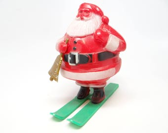 1950's Santa on Skis Candy Container, Vintage Christmas Santa Claus Holding Bell
