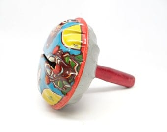 Vintage Tin Halloween Noise Maker with Clowns, U S Metal Toy Mfg Co, Made in USA
