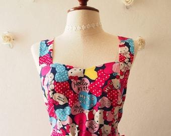 Mid Year SALE Hello Kitty Dress Women Kitty Dress Navy Pink Heart Sundress Summer Dress with Matching Headband or Use as Waist Sash or