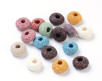Assorted Color - Lava Gemstone European Beads - 15mm in diameter, 9mm thick, hole: 5mm