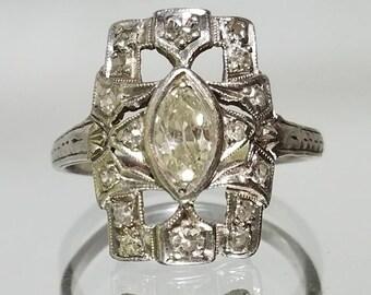 ANTIQUE Art Deco Old Mine Cut Marquise .45ctw Diamond Platinum Ring - RARE stone - size 5.5