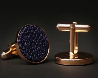 Navy Cufflinks, Navy Wedding cufflinks, Dark Blue cufflinks, Silver cufflinks, Golden cufflinks