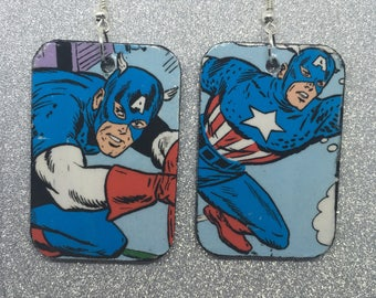 Upcycled Captain America Comic Book Earrings