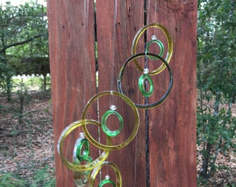 yellow olive green, GLASS WINDCHIMES-RECYCLED bottles,   garden decor, wind chimes, windchimes, mobile, soothing music