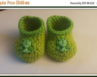 On Sale Green Dragon Baby Booties Baby Shower Gift Newborn Handmade Crochet