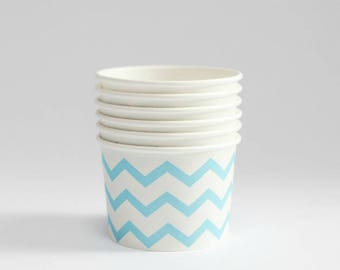 8 oz Blue Chevron Ice Cream Cups , 6 Cups,   Popcorn Cup ,Treat Cup , Favor Cup , Concession supplies, food boxes, rustic wedding