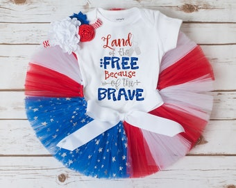 Land of the Free because of the Brave outfit, deployment homecoming outfit, military homecoming outfit 4th of july outfit girl toddler baby