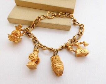 Vintage Avon Gold Tone Owl Telephone Pitcher Mixed Theme Charm Bracelet O1