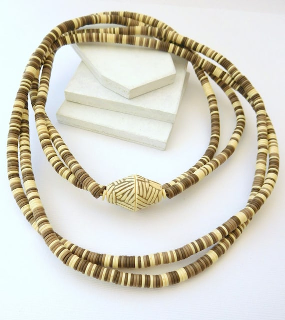 Vintage Avon Taupe Cream Bead Double Strand Sirocco Rope Necklace CC6