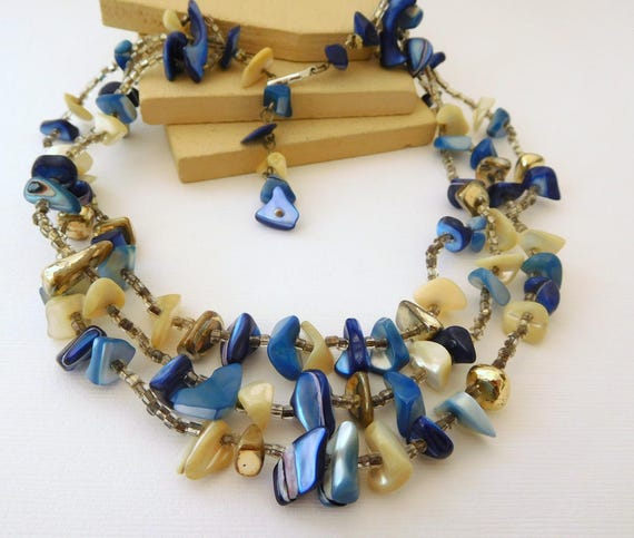 Vintage Japan Blue Shell Glass Bead Layered Multi-Strand Choker Necklace DD18