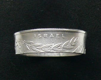 1971 Israel 1/2 Lira Coin Ring, Ring Size 9