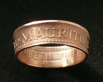 Mauritius 2 Cents Bronze Coin Ring, 1971, Ring Size 7 1/2 and Double Sided