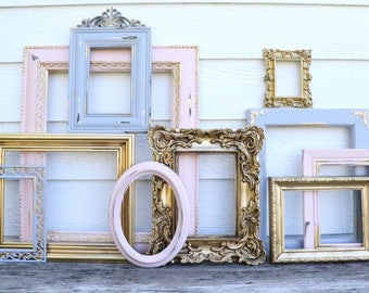 Set of 10 Gold, Gray, Blush Pink Open Frames -  Pink Grey Gold - Nursery Frames - Wedding Frames - Ornate, Oval, Frames - French Country