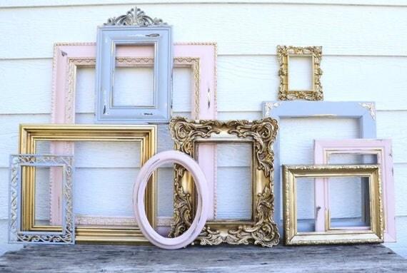 Set of 10 Gold, Gray, Blush Pink Open Frames -  Pink Grey Gold - Nursery Frames - Wedding Frames - Ornate, Oval, Frames - French Country