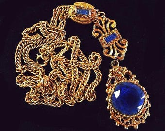 "Victorian Blue Pendant Necklace Art Glass Slider & Baguette Rhinestones Gold Metal 30"" Vintage"