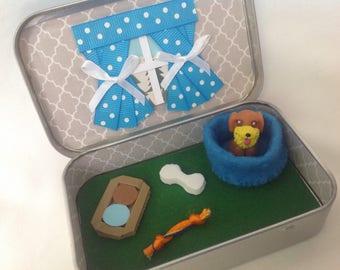 Stocking Stuffer,Altoids Dog Playset, Pet Dog/PuppyToy Tin Squinkies/Stocking Stuffer Quiet time Tin, Travel Toy
