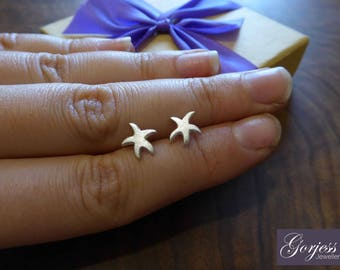 Starfish Stud Earrings - Silver Starfish Studs - Handmade Starfish Earrings - Satin Starfish