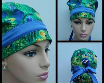 Handmade Woman Medical Scrub Hat/OR Hat/Nurses Hat - Peacock Flock - Emerald Green - 100 % cotton