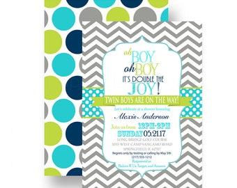 Vintage Twins Baby Shower Invitation For Boys   Double Joy   Grey Chevron    Navy U0026