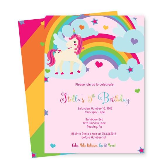 Unicorn Birthday Party Invitations Girls Rainbow Kids Ideas