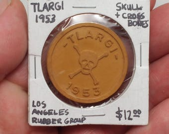 Vintage 1953 TLARGI Rubber Token by Los Angels Rubber Group - Token, Exonumia, Advertising, Rubber Products