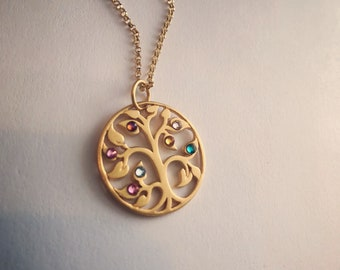 Family Tree Gold Vermeil Birthstone necklace/ Mothers Day Personalized/Great Gift for Mom