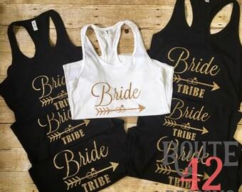 Bride Tribe |  Bachelorette Tanks | Glitter | Bridal Party