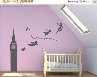 SALE Peter Pan Big Ben wall decal mural sticker childrens nursery K001