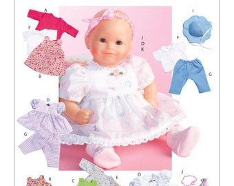 "Sewing Pattern for Casual Baby Doll Clothes, McCalls 4338, Patterns fit 15 inch Baby Doll(Bitty Baby), Fits Doll sizes 11"" - 13"" & 14"" - 16"""