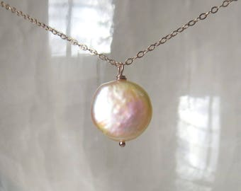 Lustrous Peach Blush Coin Pearl on Fine Gauge 14k Rose Gold Filled Chain
