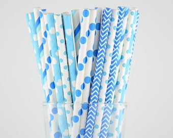 Blue Paper Straws Mix/Striped/Chevron/Dots/Heart Straws/Party Decor/Cake Pop Sticks/Party Supplies/Wedding/Baby Shower
