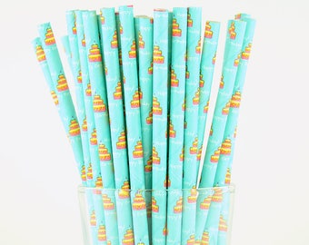 Birthday Cake Paper Straws/Party Straws/Party Decor/Cake Pop Sticks/Party Supplies/Wedding/Baby Shower