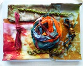 Hope Jacare Creative Textiles Hand dyed silk fabric, thread and recy. sari ribbon pack  - Small 08